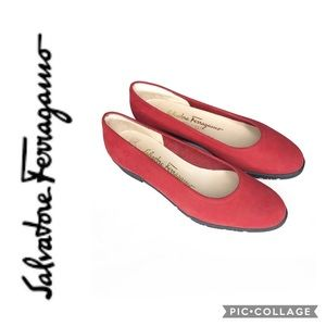 Salvatore Ferragamo Boutique Red Suede Flats 5